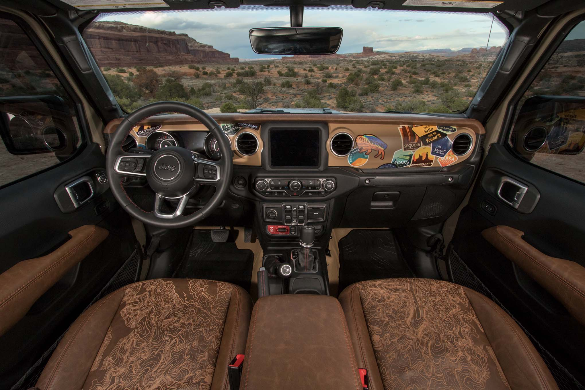 Jeep Gladiator Wayout concept with brown Relicate Distressed Leather interior