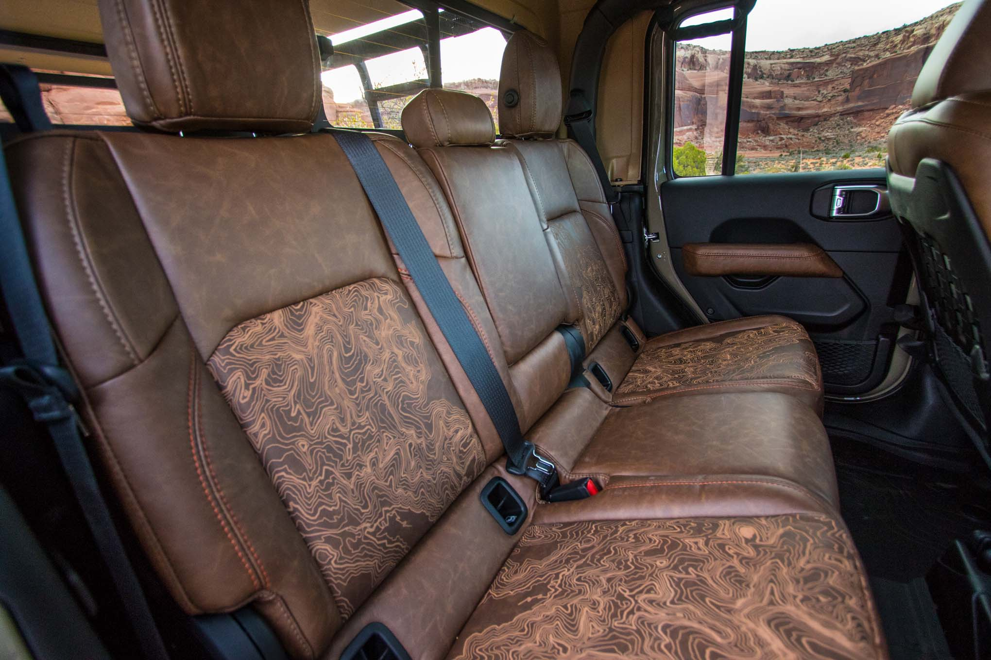 Jeep Gladiator Wayout concept with brown Relicate Distressed Leather interior back seats