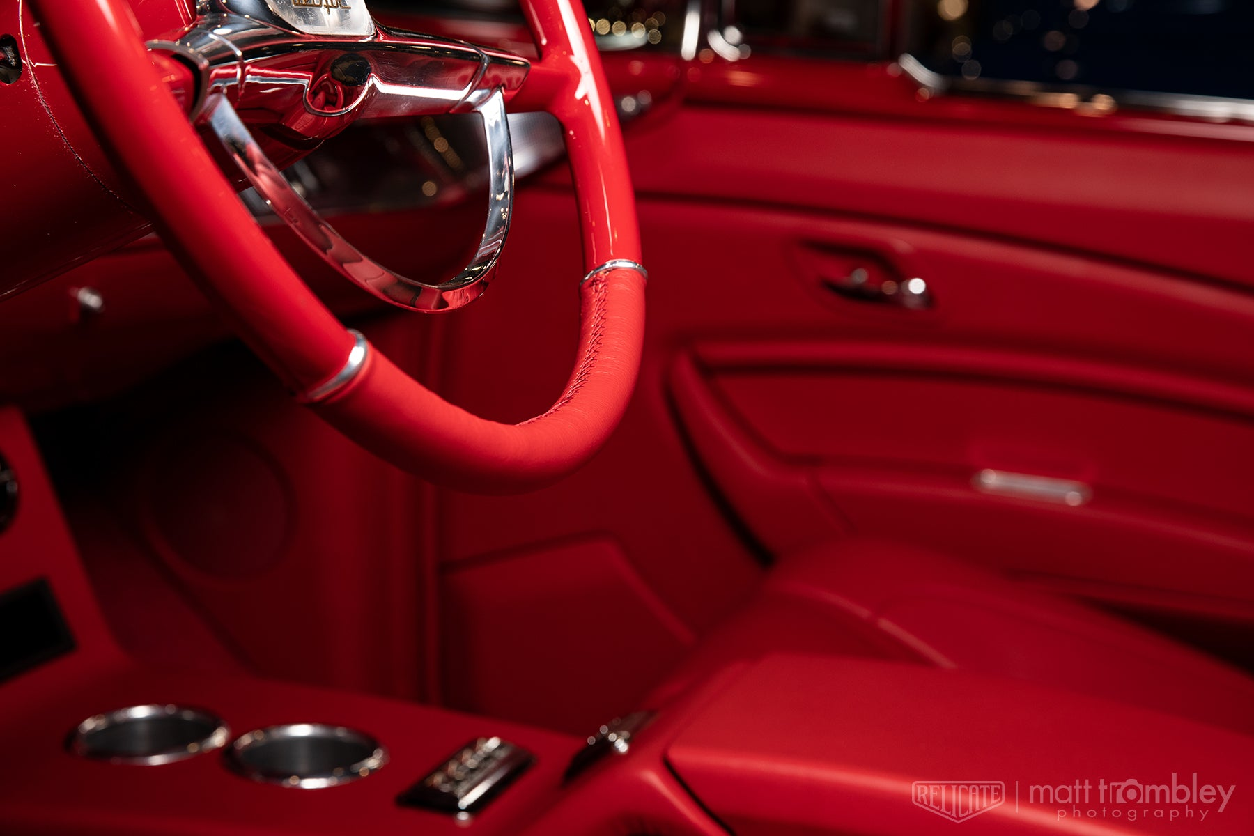 1957 Chevrolet Belair Convertible with Relicate Napali Cherry Leather Steering Wheel