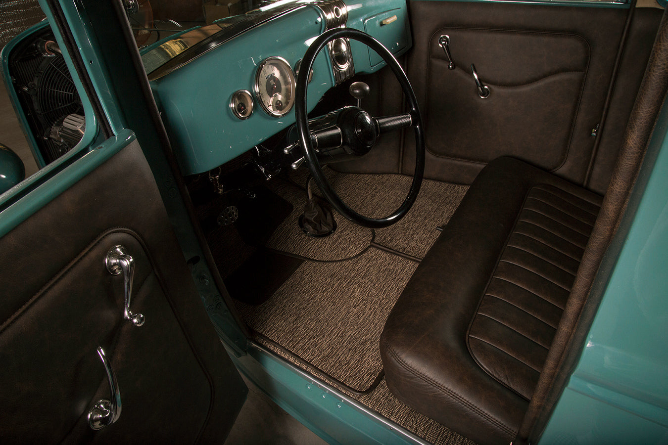 1932 Ford Model A Distressed Leather Interior Relicate Nightshade