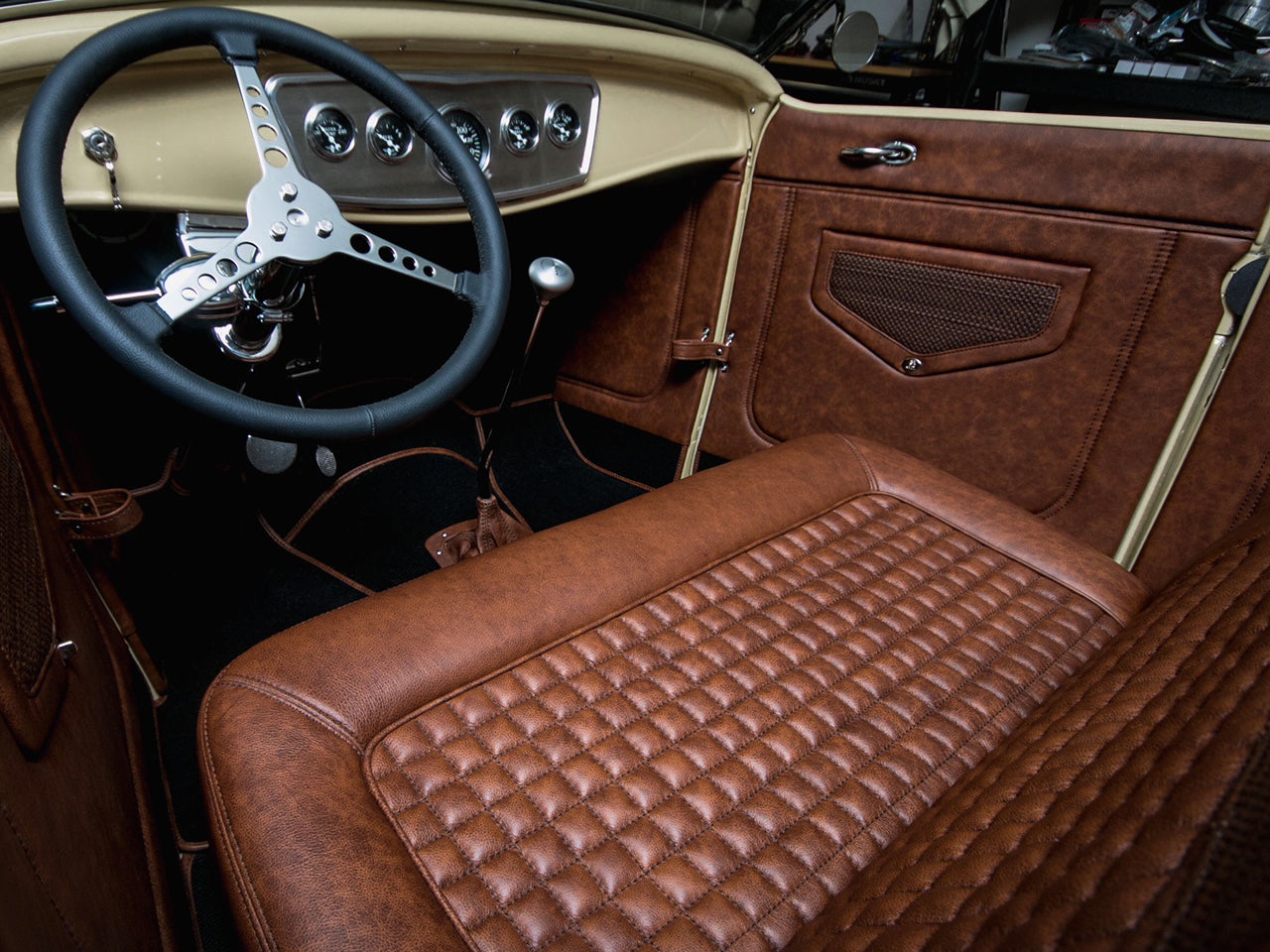 Relicate Distressed Rich Clay Leather 1932 Ford Roadster Pickup Leather Interior