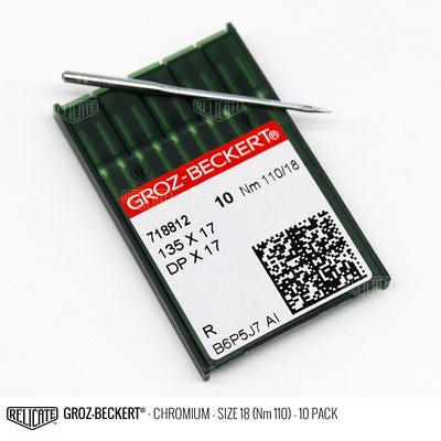 Groz-Beckert 135x17 Chromium Needles Size 18 (Nm 110) - 718812 / 10 Pack - Relicate Leather Automotive Interior Upholstery
