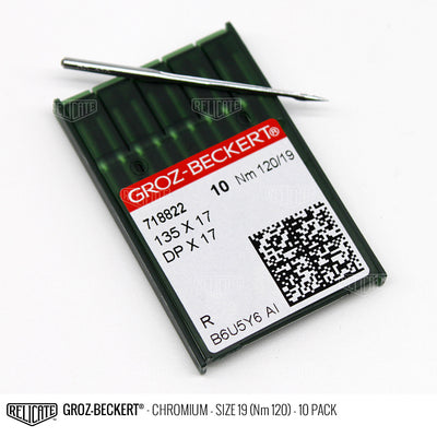 Groz-Beckert 135x17 Chromium Needles Size 19 (Nm 120) - 718822 / 10 Pack - Relicate Leather Automotive Interior Upholstery