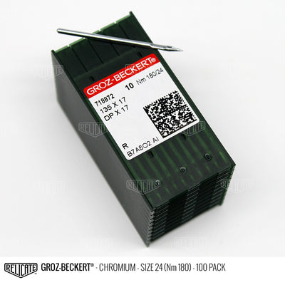 Groz-Beckert 135x17 Chromium Needles Size 24 (Nm 180) - 718872 / 100 Pack - Relicate Leather Automotive Interior Upholstery