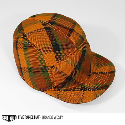 5 Panel Hat - Orange Westy  - Relicate Leather Automotive Interior Upholstery