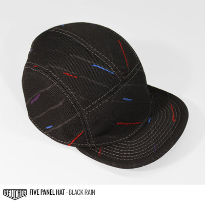 5 Panel Hat - Black Rain  - Relicate Leather Automotive Interior Upholstery