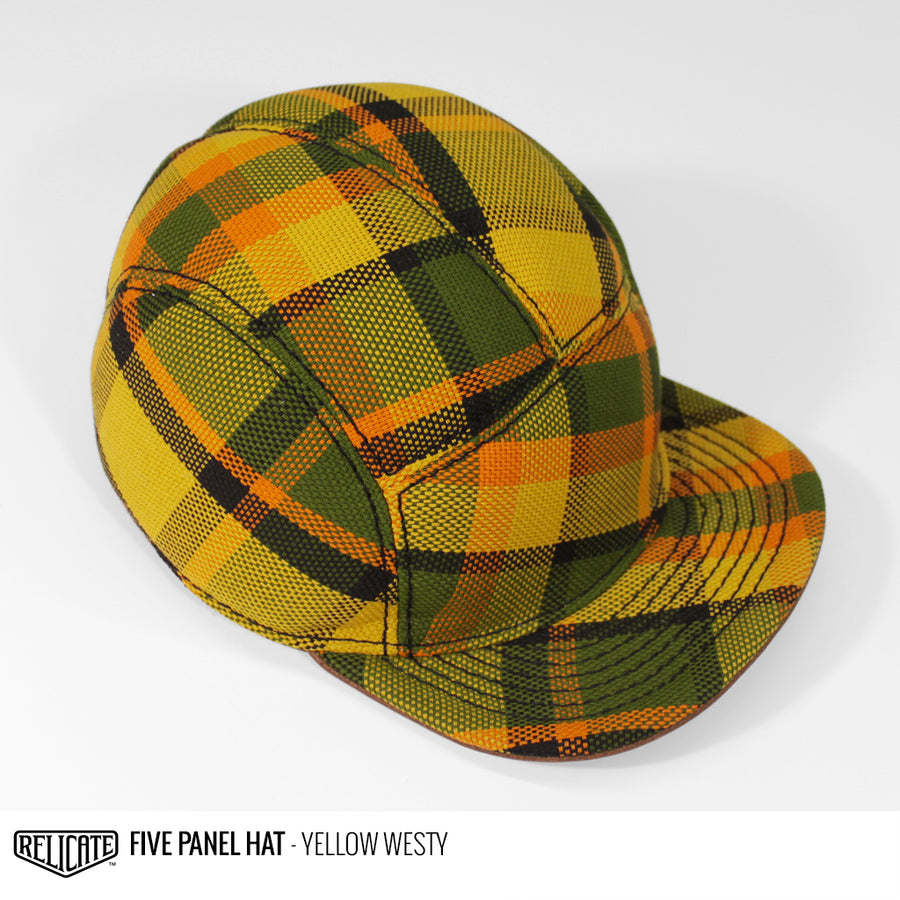 5 Panel Hat - Yellow Westy  - Relicate Leather Automotive Interior Upholstery