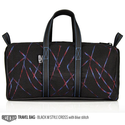 Travel Bag - Black M Style Cross  - Relicate Leather Automotive Interior Upholstery