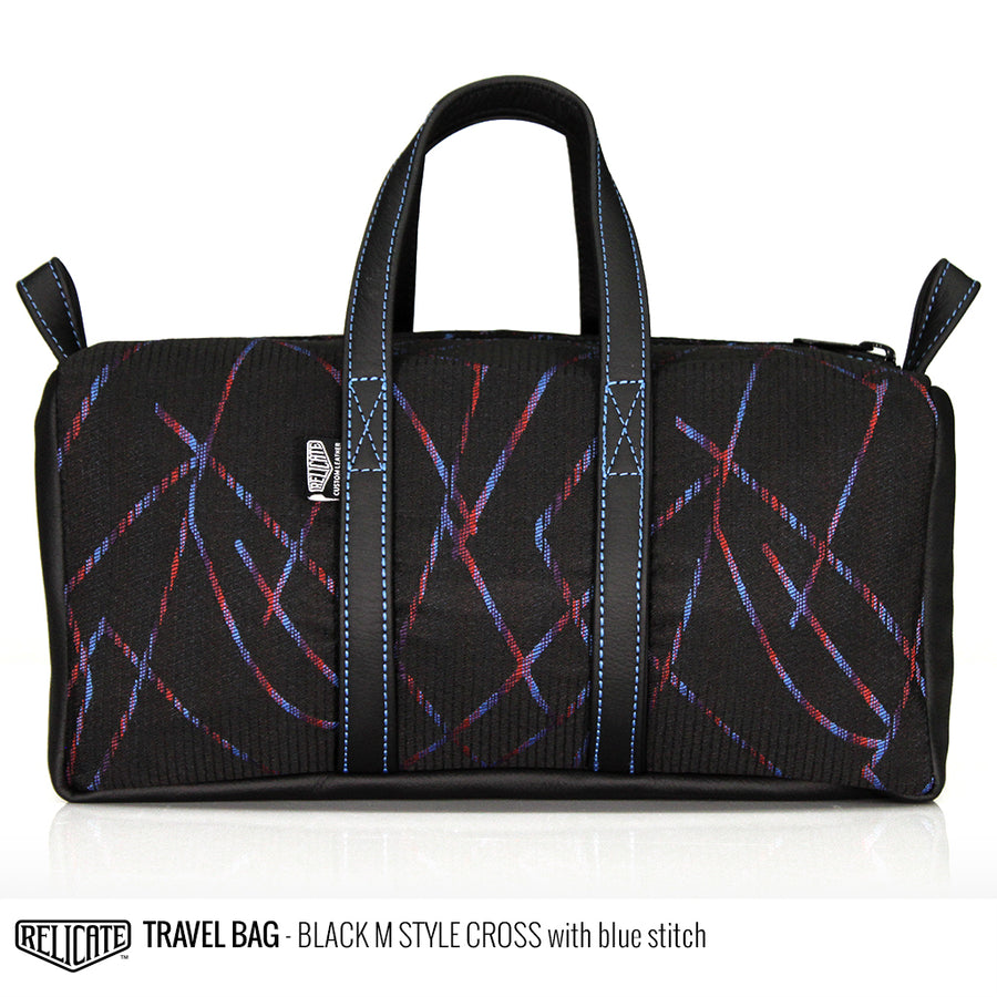 Travel Bag - Black M-Cross Blue - Relicate Leather Automotive Interior Upholstery