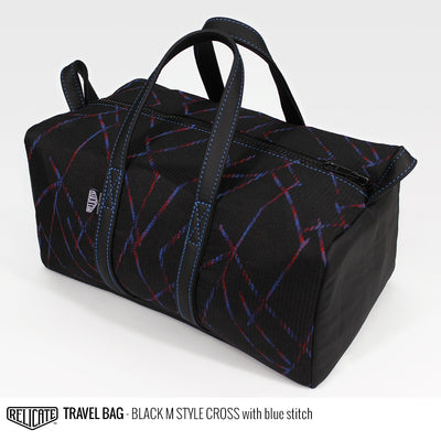 Travel Bag - Black M Style Cross Blue - Relicate Leather Automotive Interior Upholstery