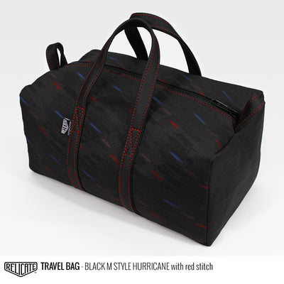 Travel Bag - Black M Style Hurricane Red - Relicate Leather Automotive Interior Upholstery