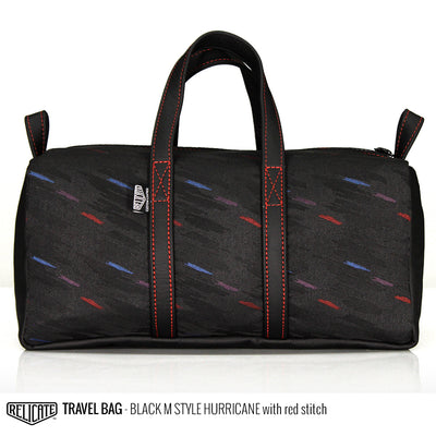 Travel Bag - Black M Style Hurricane  - Relicate Leather Automotive Interior Upholstery