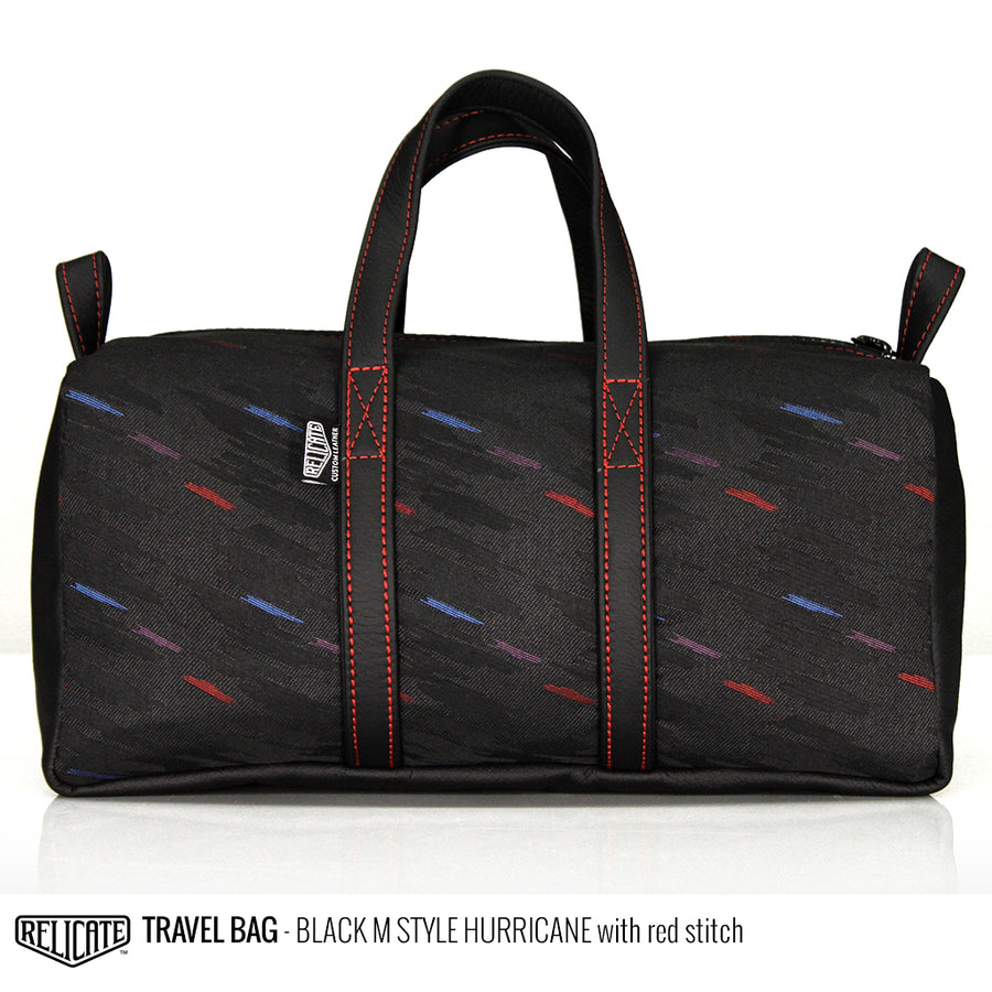 Travel Bag - Black M-Hurricane Red - Relicate Leather Automotive Interior Upholstery
