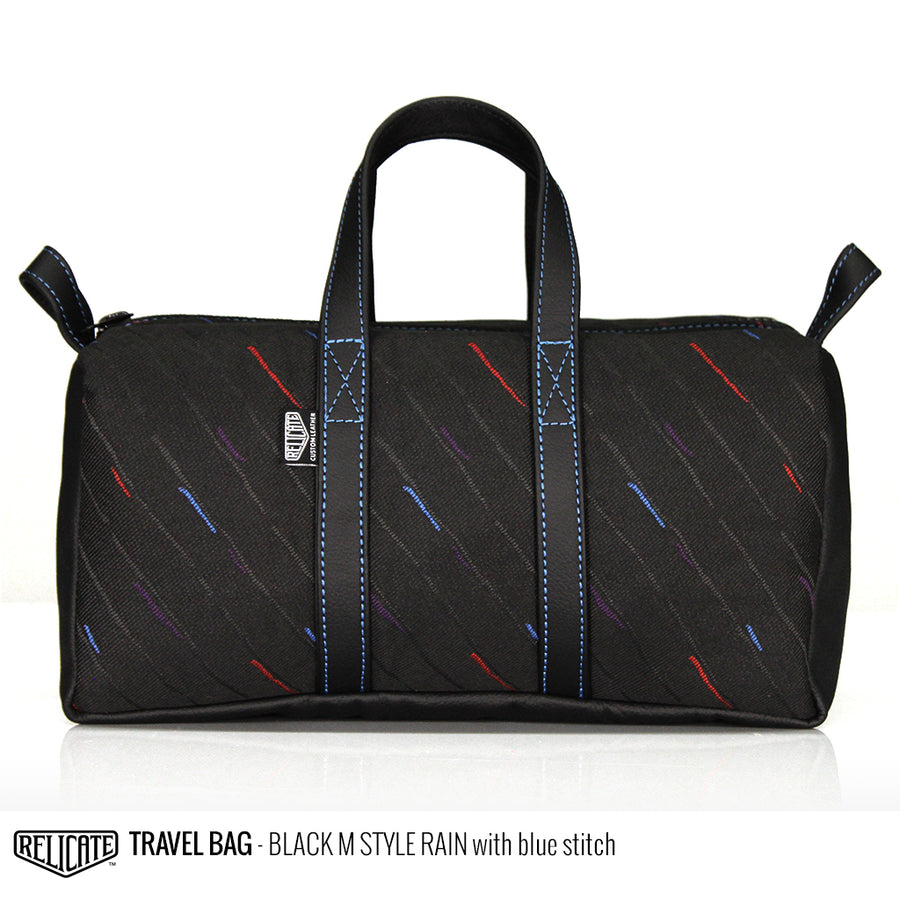 Travel Bag - Black M-Rain Blue - Relicate Leather Automotive Interior Upholstery