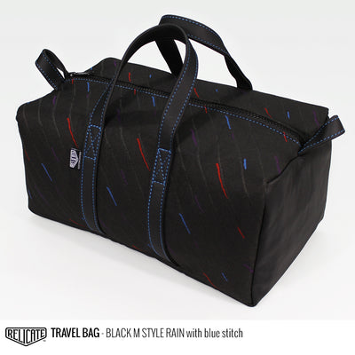 Travel Bag - Black M Style Rain Blue - Relicate Leather Automotive Interior Upholstery