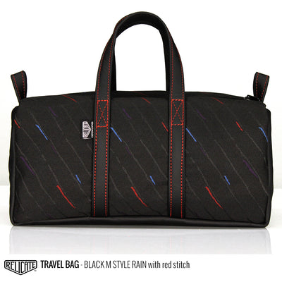 Travel Bag - Black M Style Rain  - Relicate Leather Automotive Interior Upholstery