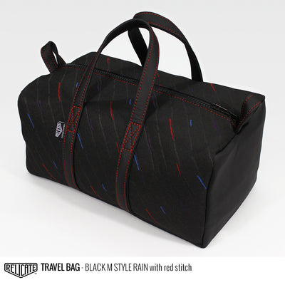 Travel Bag - Black M Style Rain Red - Relicate Leather Automotive Interior Upholstery