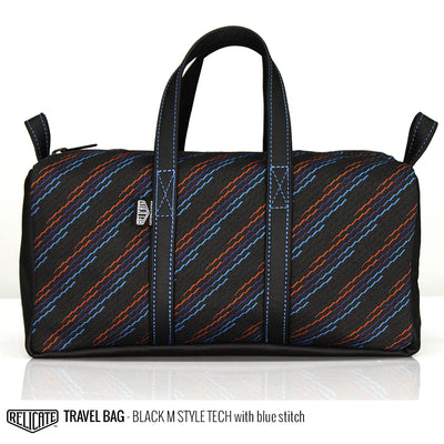 Travel Bag - Black M Style Tech  - Relicate Leather Automotive Interior Upholstery