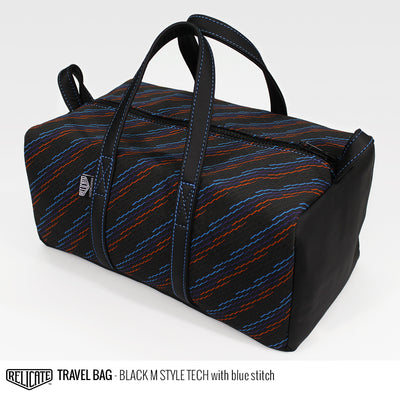 Travel Bag - Black M Style Tech Blue - Relicate Leather Automotive Interior Upholstery