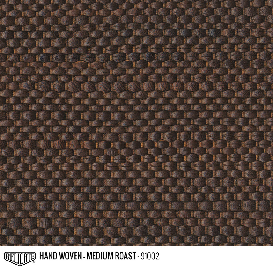 Hand Woven Leather - Medium Roast Product / 6 Linear Inches - Relicate Leather Automotive Interior Upholstery