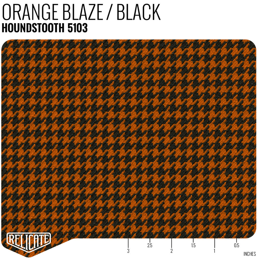 Houndstooth Seat Fabric - Orange Blaze / Black Product / Orange Blaze/Black - Relicate Leather Automotive Interior Upholstery