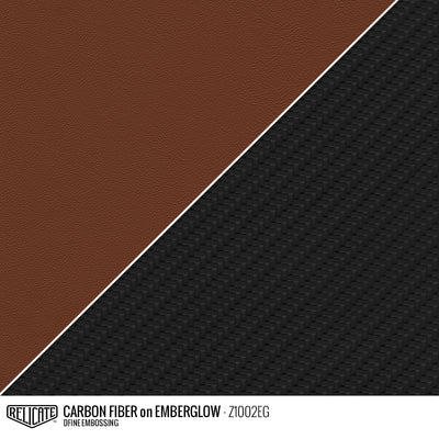 CARBON FIBER EMBOSSED LEATHER Sample / Sample / Emberglow Z1002EG - Relicate Leather Automotive Interior Upholstery