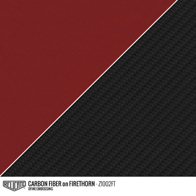 CARBON FIBER EMBOSSED LEATHER Sample / Sample / Firethorn Z1002FT - Relicate Leather Automotive Interior Upholstery