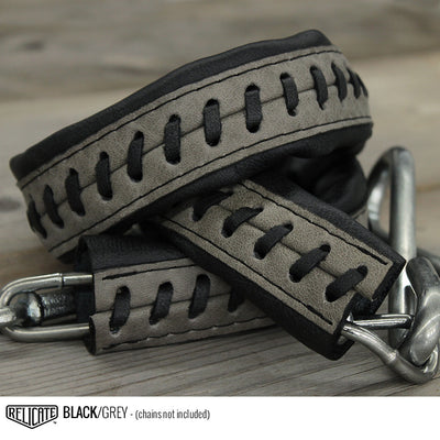 Leather Tailgate Chain Covers - Chevy '47-'53 C10 / Black w/Grey accent - Relicate Leather Automotive Interior Upholstery