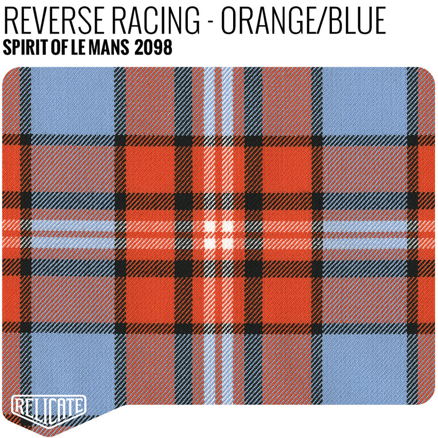 Spirit of Le Mans Plaid Fabric - Reverse Racing - Orange / Blue Product / Orange/Blue - Relicate Leather Automotive Interior Upholstery