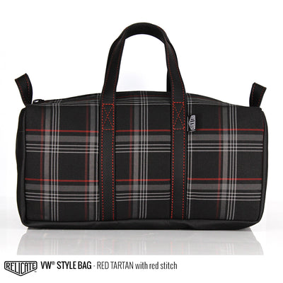 Travel Bag - Red Tartan  - Relicate Leather Automotive Interior Upholstery