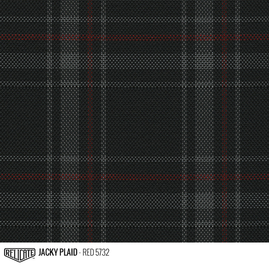 Jacky Plaid Fabric - Red Product / Red - Relicate Leather Automotive Interior Upholstery