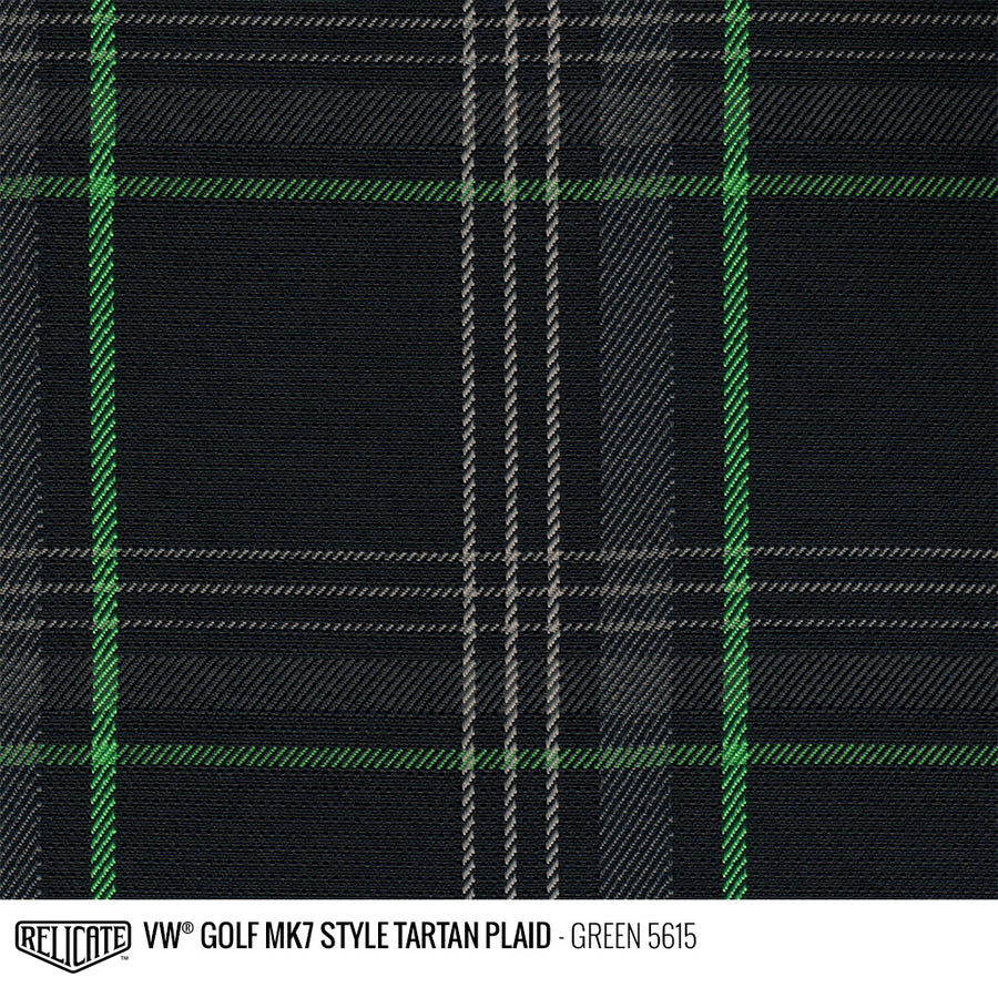 Golf MK7 Style Plaid Tartan Fabric - Green Product / Green - Relicate Leather Automotive Interior Upholstery