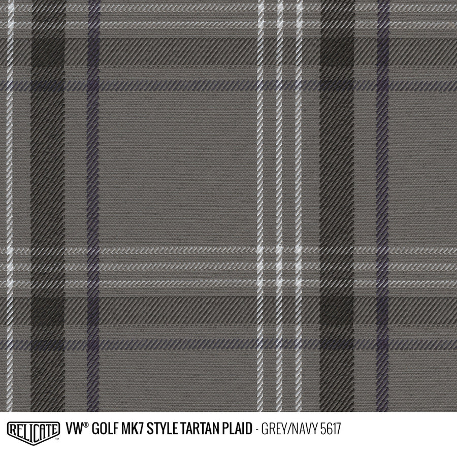 Golf MK7 Style Plaid Tartan Fabric - Grey/Navy Product / Grey/Navy - Relicate Leather Automotive Interior Upholstery