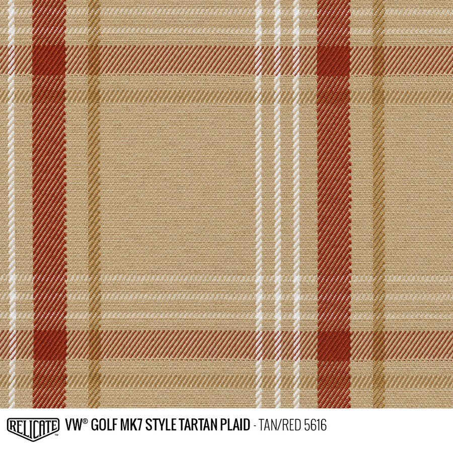 Golf MK7 Style Plaid Tartan Fabric - Tan Product / Tan/Red - Relicate Leather Automotive Interior Upholstery