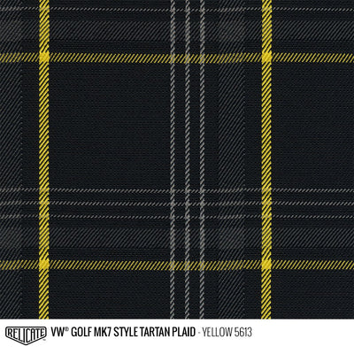Plaid by the Linear Foot and Half Yard Tartan Yellow 5613 / Linear Foot - 12 x 60 - Relicate Leather Automotive Interior Upholstery
