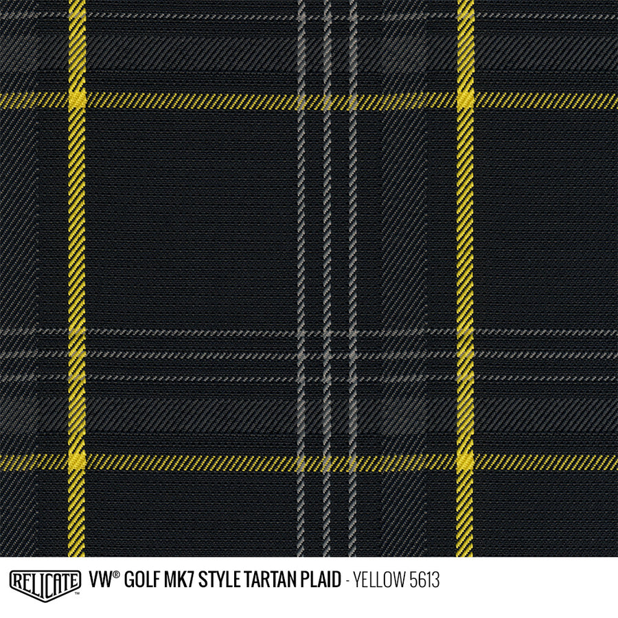 Golf MK7 Style Plaid Tartan Fabric - Yellow Product / Yellow - Relicate Leather Automotive Interior Upholstery