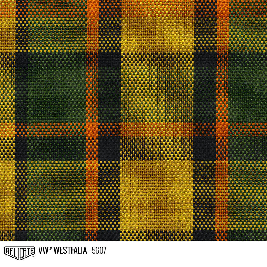 Westfalia Plaid Fabric - Yellow Product / Yellow/Green/Orange - Relicate Leather Automotive Interior Upholstery