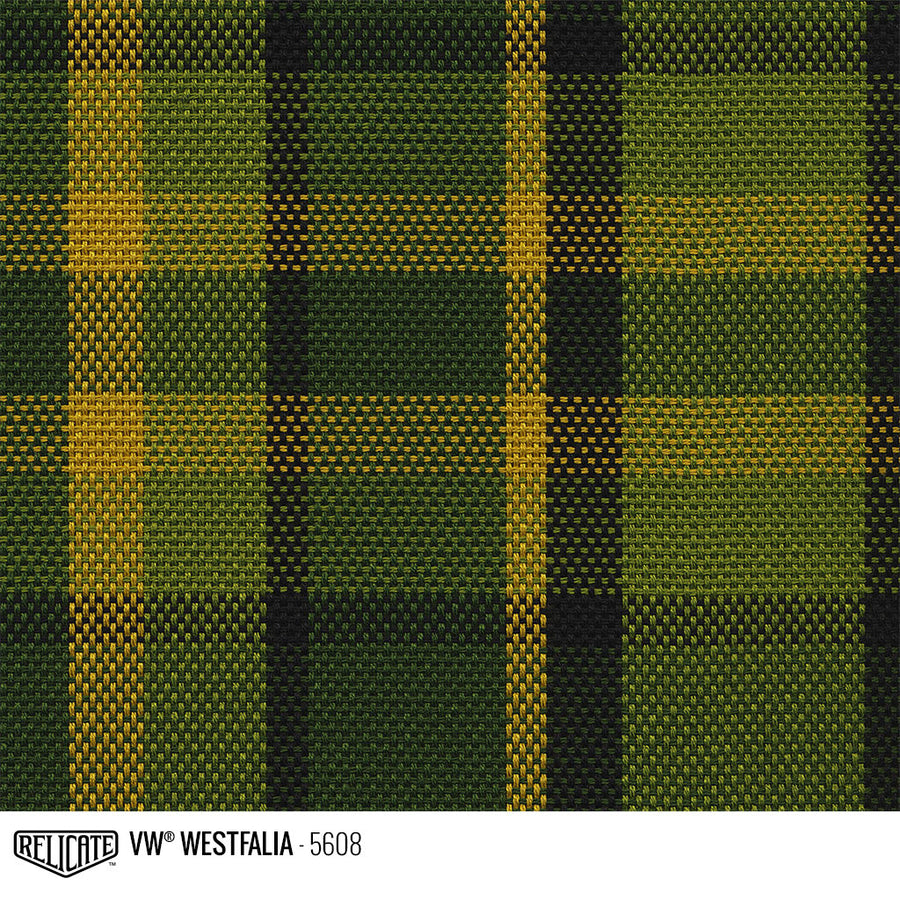 Westfalia Plaid Fabric - Green Product / Green/Yellow - Relicate Leather Automotive Interior Upholstery