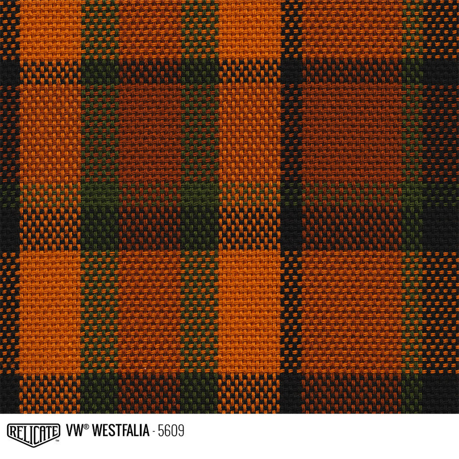 Westfalia Plaid Fabric - Orange Product / Orange/Green - Relicate Leather Automotive Interior Upholstery