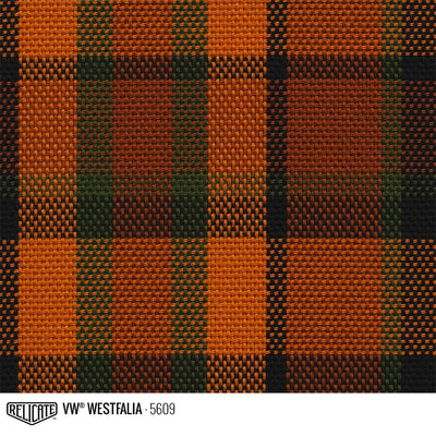 Plaid by the Linear Foot and Half Yard Westfalia Orange 5609 / Linear Foot - 12 x 63 - Relicate Leather Automotive Interior Upholstery
