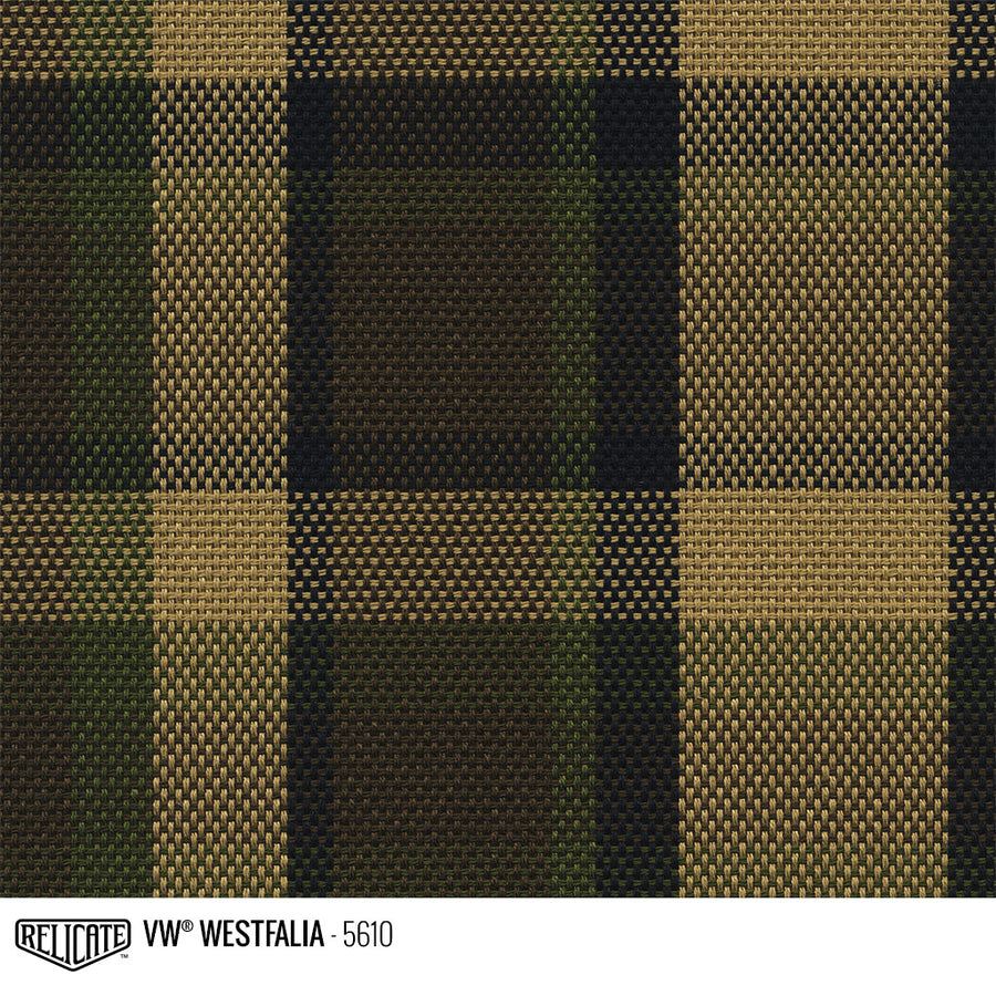 Westfalia Plaid Fabric - Brown Product / Brown/Beige/Green - Relicate Leather Automotive Interior Upholstery