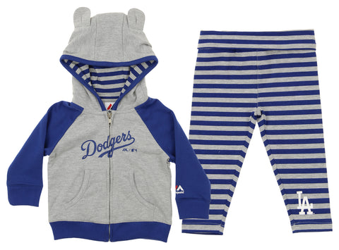 Majestic MLB Infant Girls Los Angeles Dodgers Great Catch Hoodie and Pant Set