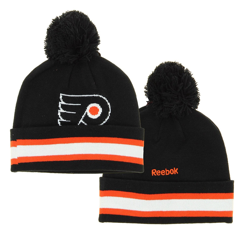 b0aef5897af NHL Reebok Philadelphia Flyers Youth Face Off Cuffed Knit Winter Hat With  Pom