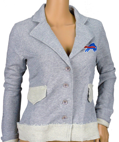 NFL Football Women's Buffalo Bills Button Up Cotton Jacket Blazer, Grey