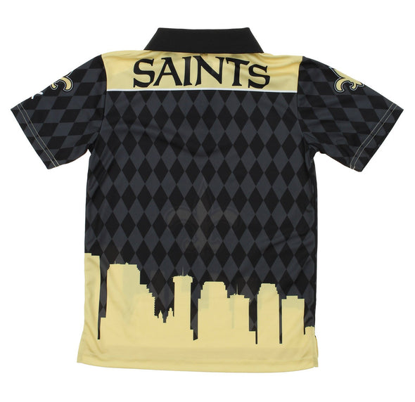NFL Youth New Orleans Saints City Poly Polo, Black