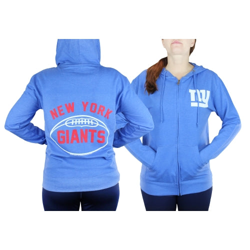 New York Giants NFL Football Womens Double Coverage Full Zip Hoodie