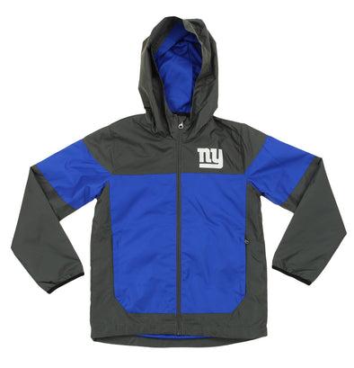 NFL Youth New York Giants Light Weight All Elements Jacket , Grey / Blue