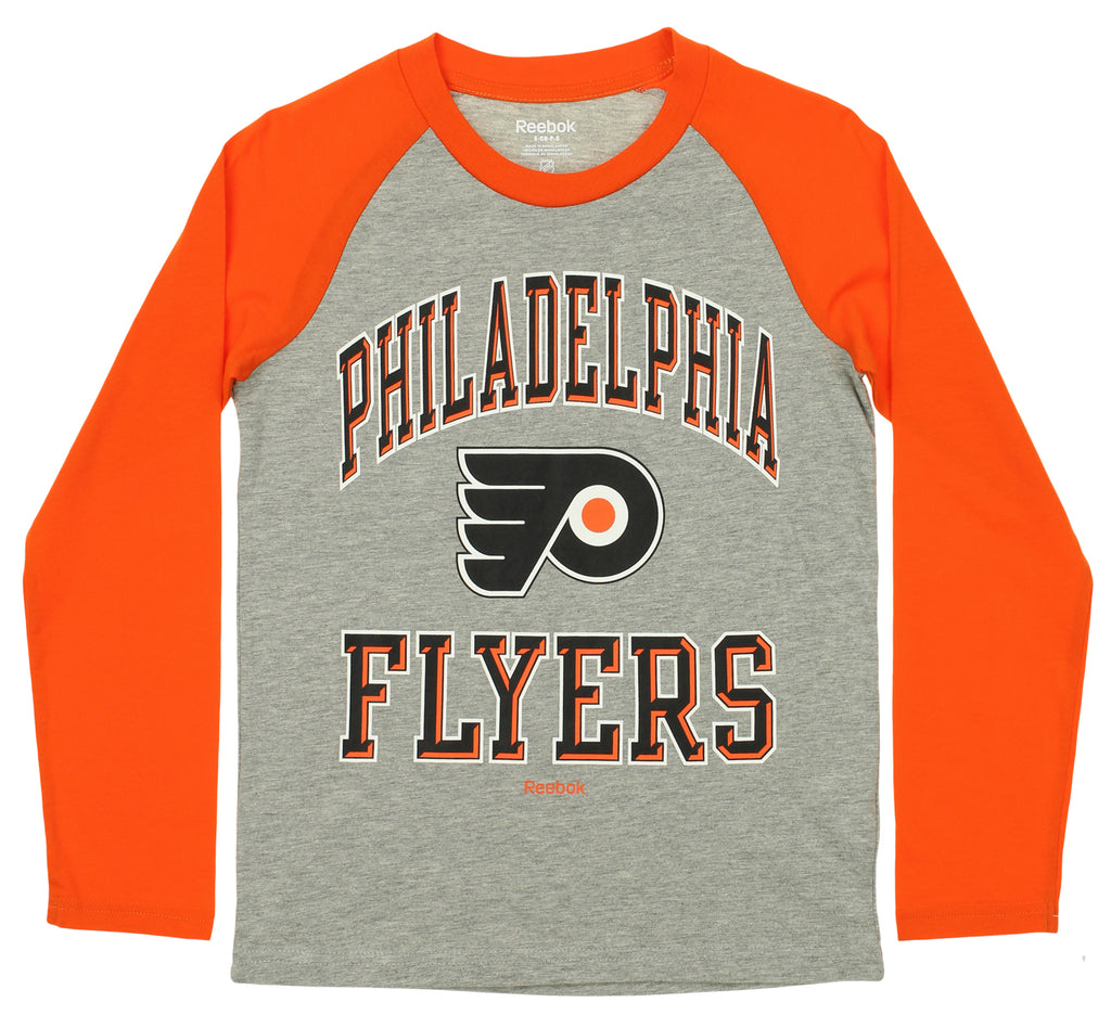 e4ac4e891 Reebok NHL Youth Philadelphia Flyers Long Sleeve Raglan Tee