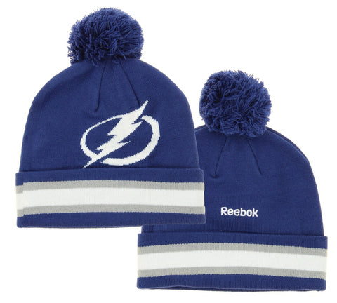 NHL Reebok Tampa Bay Lightning Youth Face Off Cuffed Knit Winter Hat With Pom, Navy