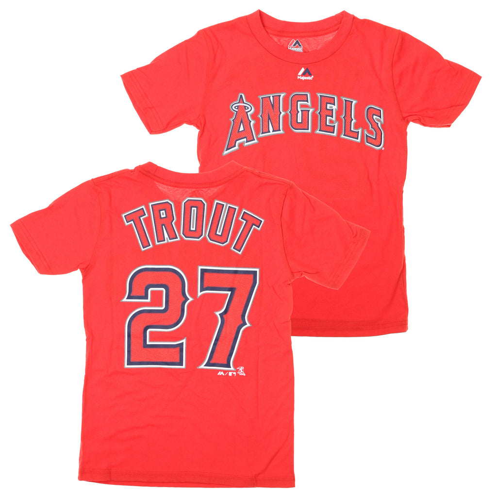 d43ce43ad2f Majestic MLB Youth Los Angeles Angels Of Anaheim Mike Trout #27 Player Tee,  Red